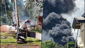 Siaubinga katastrofa Filipinuose – karinis lėktuvas nepataikė nutūpti ant tako