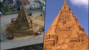 Pasigrožėkite nauju Gineso rekordu – aukščiausia pasaulyje smėlio pilis
