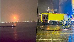 Dubajaus uoste driokstelėjo sprogimas – nakties dangų nušvietė didžiulis ugnies kamuolys