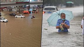 Meteorologai paskelbė aukščiausio lygio pavojų Kinijoje – iš krantų liejasi upės