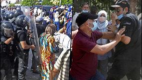 Opozicionieriai svaidė vieni į kitus akmenis ir butelius prie Tuniso parlamento