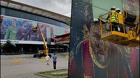 Istorinė akimirka – Lionelio Messi plakatas buvo pašalintas nuo Barselonos stadiono