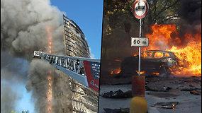 Italijoje užsidegė dangoraižis – nuo pastato kilo juodi dūmų kamuoliai