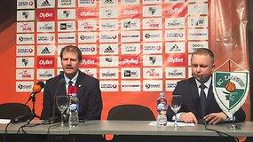 Gintaras Krapikas spaudos konferencijoje po laimėtų rungtynių