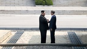 Istorinis momentas: susitiko Šiaurės ir Pietų Korėjos lyderiai