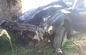 """Dieveniškėse sudegė """"Audi"""" automobilis, prieš tai jo vairuotojui įsirėžus į medį"""