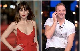 """""""50 pilkų atspalvių"""" žvaigždė Dakota Johnson neigia, kad su """"Coldplay"""" lyderiu laukiasi kūdikio"""