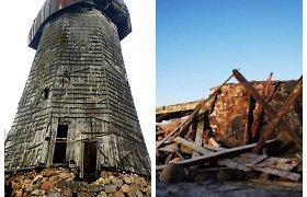 Vėjo neatlaikė paskutinis Rokiškio rajono medinis malūnas