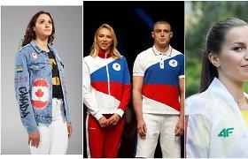 Olimpinių aprangų pristatymai: pašaipos dėl džinsų ir nuostaba dėl rusų akibrokšto