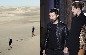 """""""Saint Laurent"""" naujausią kolekciją pristatė hipnotizuojančiais vaizdais: podiumu tapo smėlio kopos"""