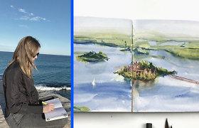 Virtualiai po pasaulį keliaujanti britė piešia įspūdingiausias šalių vietas: nutapė ir Trakų pilį