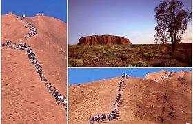 """""""Beprotybė"""": turistų minios skuba ropštis į Uluru, nes tuoj tai bus draudžiama"""
