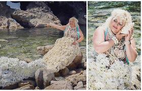 Daina Bilevičiūtė virto undine: fotosesijai prireikė 2,5 metro gėlių uodegos ir 15 kg perlų