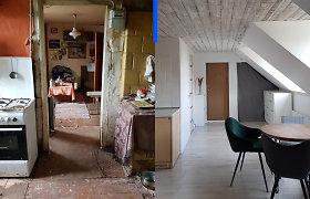 Pora atnaujino seną butą mediniame name: buvo šildomas malkomis ir be karšto vandens