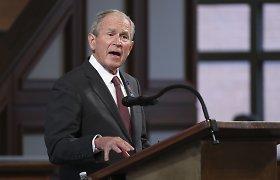 """George'as W.Bushas pasveikino Joe Bideną ir pareiškė, kad rinkimai buvo """"iš principo sąžiningi"""", o jų """"rezultatai aiškūs"""""""