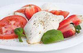 Lengvos ir gaivios mocarelos salotos su braškėmis