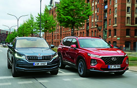 """""""Auto Bild"""" palyginimas: """"Hyundai Santa Fe"""" prieš """"Škoda Kodiaq"""""""