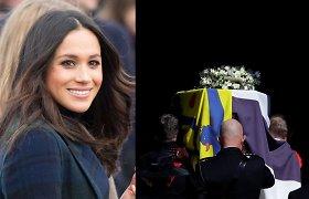 Princo Philipo laidotuvėse nedalyvavusi M.Markle atsiuntė vainiką: prie jo – ranka rašytas raštelis