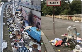 """Paryžiaus gyventojai dalijasi šokiruojančiomis nuotraukomis: """"Miestas tapo sąvartynu"""""""