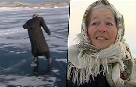 Prie Baikalo gyvenanti 79 m. močiutė be pačiūžų nebeįsivaizduoja savo gyvenimo – čiuožia ir savo malonumui, ir pas karves