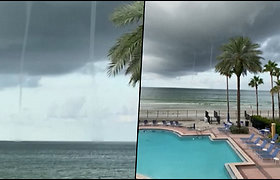 Poilsiautoja Floridos paplūdimyje prarado amą – netoli pakrantės besisuko du viesulai