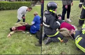 Paskelbtas įrašas, kuriame medikai bando atgaivinti Rusijos universitete apšaudytą studentą