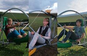 Ypatingas rekordas: pirmasis koordinuotas trijų sklandytuvų skrydis po arka, atliktas vaikų