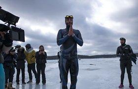 3 minutės, 120 metrų po ledu – prancūzas pasiekė naują pasaulio rekordą