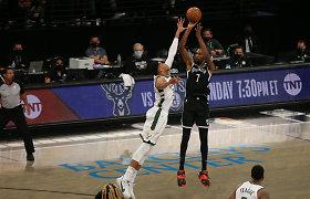 """""""Nets"""" dominavimas: surakino Giannį ir sutriuškino """"Bucks"""" komandą"""