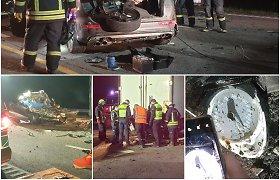 """Liudininkų ir gelbėtojų įspūdžiai iš kraupios """"Audi"""" avarijos: smigo į vilkiką it raketa"""