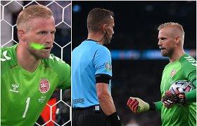 Bjaurus triukas, dėl kurio UEFA pradėjo tyrimą – danų vartininkui į akis švietė lazeriu
