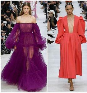 """Paryžiuje pristatytoje """"Valentino"""" kolekcijoje – tiulio, raukinių ir plunksnų žaismas"""