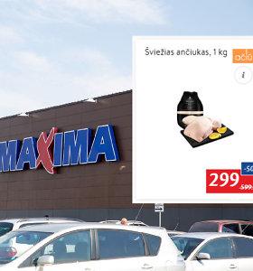 """Techninė klaida: """"Maximoje"""" kilogramas ančiuko su nuolaida kainavo 299 eurus"""