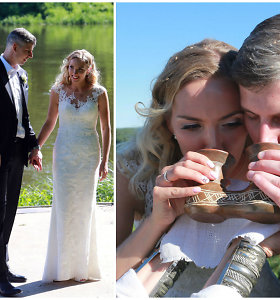 Pagoniškos vestuvės: knygnešio J.Masiulio proanūkė santuokos įžadus davė ir ant Liškiavos piliakalnio