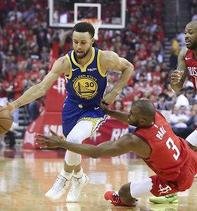 "S.Curry ištempė ""Warriors"" į Vakarų konferencijos finalą – ""Rockets"" kelionė baigėsi"