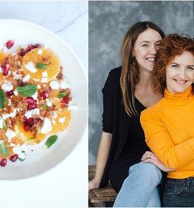 FeedMySister receptas: mandarinų, fetos ir karamelizuotų migdolųsalotos