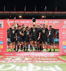 """""""All Blacks"""" regbininkai po 9 metų pertraukos triumfavo pasaulio serijos etape Dubajuje"""