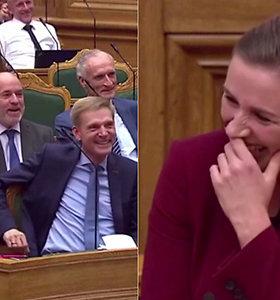 Dėl neįprastos situacijos Danijos premjerė praliupo juoktis – savo reakcija užkrėtė ir susirinkusius