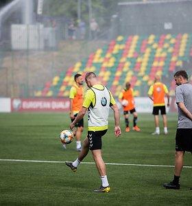 Lietuvos futbolo rinktinės treniruotė prieš rungtynęs su Liuksemburgu