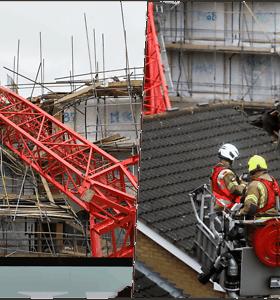 Ant gyvenamojo pastato užvirtus 20 m. aukščio kranui žuvo moteris, dar keturi sužeisti