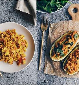 """auGalingas pirmadienis: tofu """"kiaušinienė"""" su pomidorais ir avinžirniais įdarytos cukinijos"""