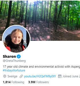 """Po kuriozo TV žaidime G.Thunberg tviteryje pasikeitė vardą į """"Sharon"""""""