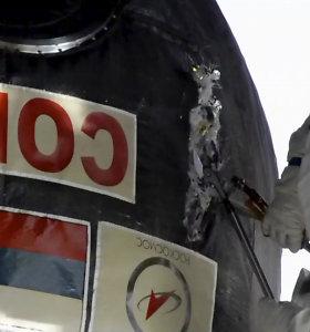 """Kosmonautai paėmė mėginių aplink mįslingą skylutę erdvėlaivyje """"Sojuz"""""""