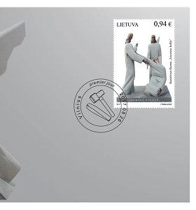"""Lietuvos pašto ženklą papuošė S.Kuzmos skulptūrinė kompozicija """"Lozoriau, kelkis"""""""