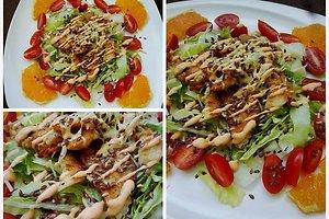 Gaivios salotos su kepta vištiena ir apelsinais (Indrės R. receptas)