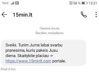 15min nuotr./Sukčių platinama SMS žinutė
