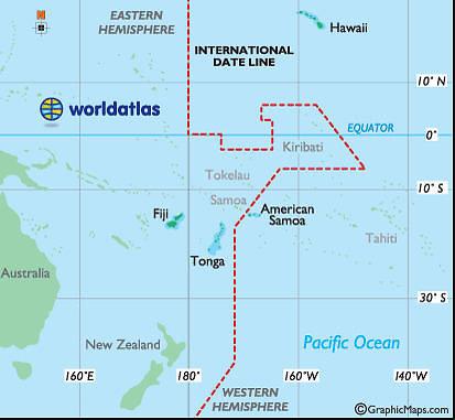 Worldatlas.com iliustracija/Tarptautinė datos keitimosi linija