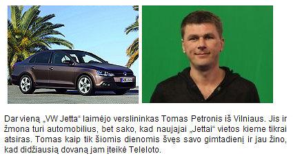 """Tomas Petronis laimėjo """"VW Jetta"""""""