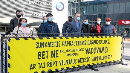 """Sostinėje mitinguoja """"Vilniaus viešojo transporto"""" darbuotojai: tikisi didesnių atlyginimų ir geresnių darbo sąlygų"""