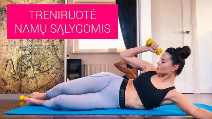 Karantino metu sportuojame namuose su Indre Burlinskaite: treniruotė pilvo presui